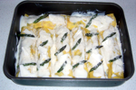 Cannelloni Asparagus and Bacon: before going into the oven