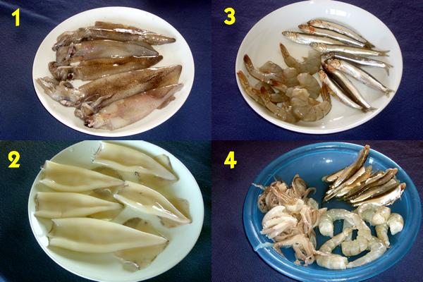 Limpar o peixe para Stuffed Squid
