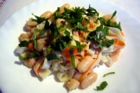 warm salad of surimi cannellini beans and rocket