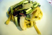 Tagliatelle with asparagus and bacon