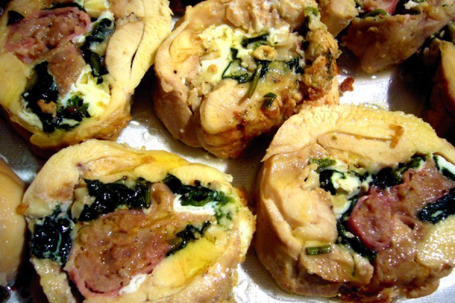 Cosce di pollo ripiene di spinaci filanti