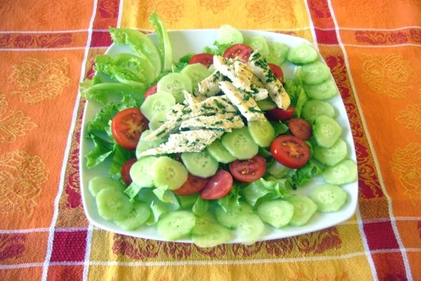 Salat Gurke Tomaten und Hühnchen gewürzt