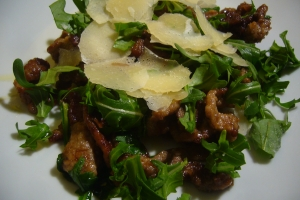 strips of beef rocket and parmesan