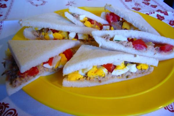 Sandwiches mit Thunfisch und Tomaten
