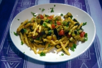 Pasta with monkfish, tomatoes and eggplants