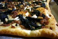 quiche with sausage, spinach and mushrooms