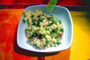 Speck risotto and zucchini