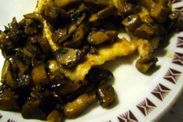 Truthahn Muscheln mit Pilzen