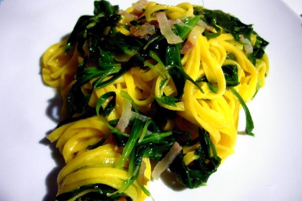 Tagliolini mit stridoli Schalotten Romagna und Mora Romagnola Pillow