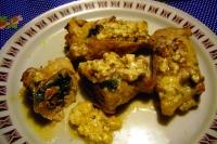 Rolls of pork with spinach and walnuts