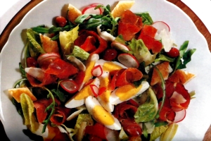 Tyrolean salad: bacon, boiled eggs, lettuce, radishes