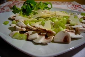 ensalada de setas, apio y grana
